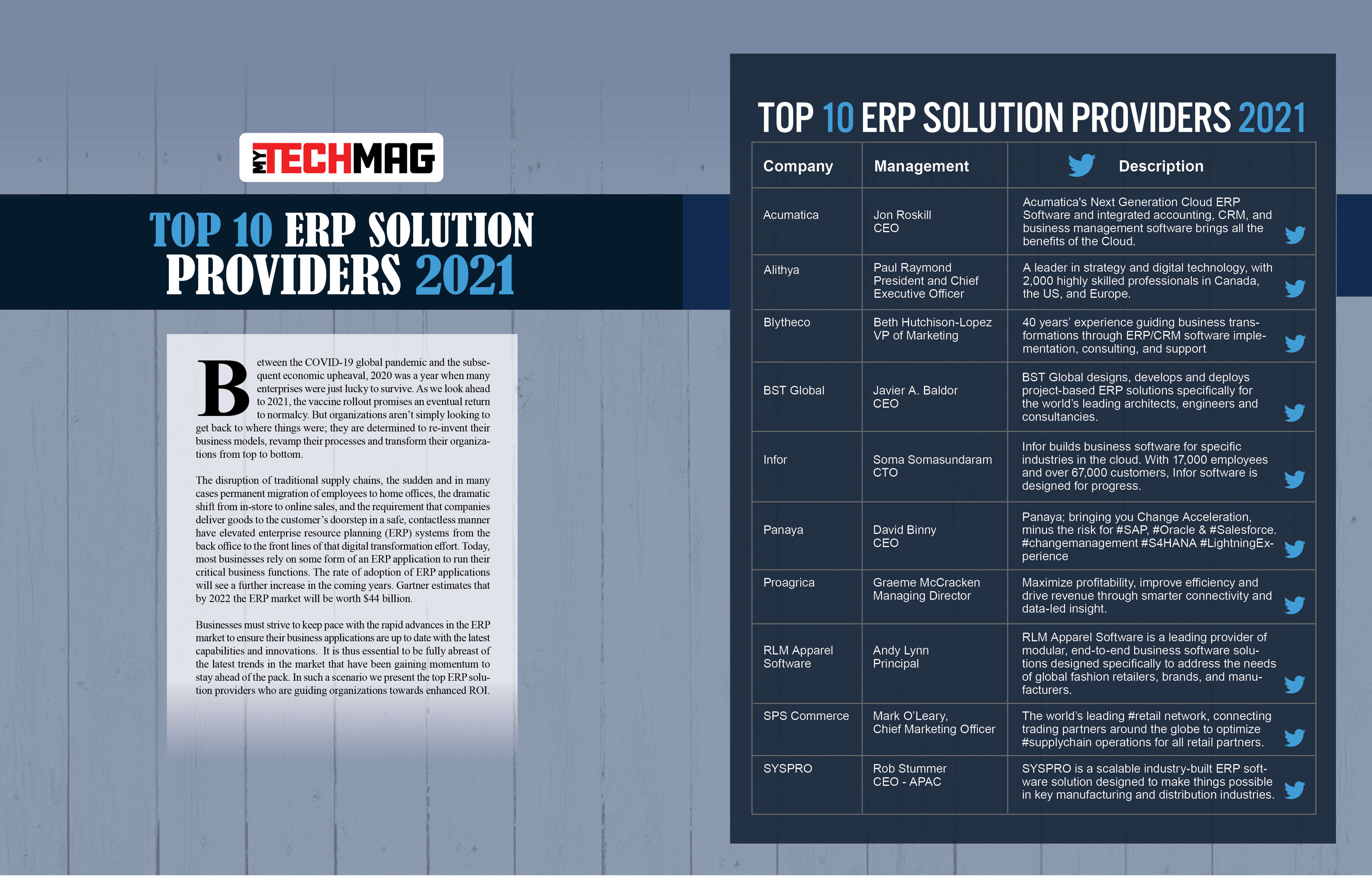 Top 10 ERP Solution Providers 2021